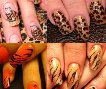Модные ногти 2010 - тигр на ногтях