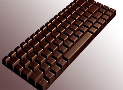 Шоколадная плитка в виде клавиатуры