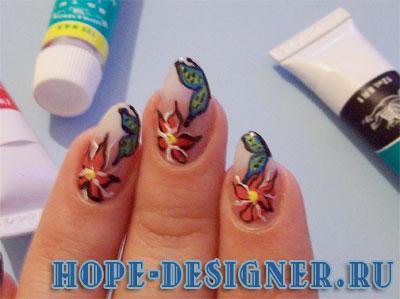 Рисунки на ногтях - фото