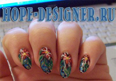 Нейл-арт фото - цветы и бабочки на ногтях