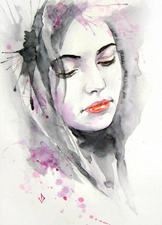 Акварель женский портрет от vlad-arts.com