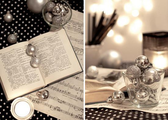 Чёрно-белый новогодний интерьер
