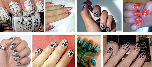 Текстурный дизайн ногтей с помощью кракелюрного лака