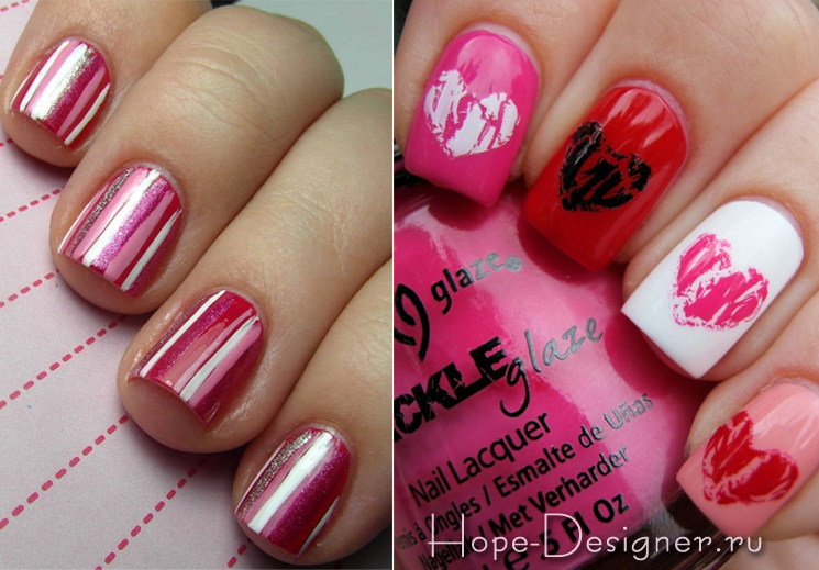 Сердечки на ногтях на день Валентина