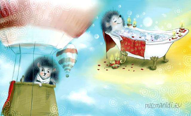 Ёжики на воздушном шаре - иллюстрация