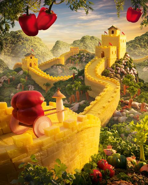 Великая Китайская стена из ананасов